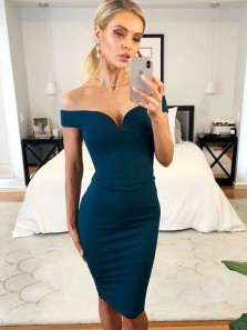 Sexy Body con Off the Shoulder Open Back Navy Blue Elastic Satin knee Length Evening Party Dresses Under 100