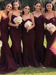 Simple Mermaid Sweetheart Spaghetti Straps Burgundy Elastic Satin Long Bridesmaid Dresses Under 100