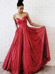 Sparkly A-Line Sweetheart Open Back Red Sequins Long Prom Dresses with Pockets,Evening Party Dresses