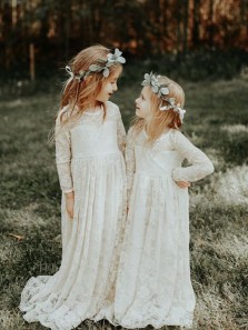 Cute A-Line Long Sleeves White Lace Flower Girl Dresses with Bow