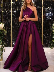 Elegant A-Line One Shoulder Purple Satin Long Prom Evening Dresses with High Split