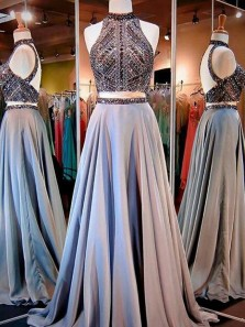 Luxurious Two Piece Halter Open Back Grey Satin Long Prom Dresses with Beading,Charming Evening Party Dresses