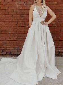 Elegant A-Line V Neck Open Back White Satin Wedding Dresses with Pockets