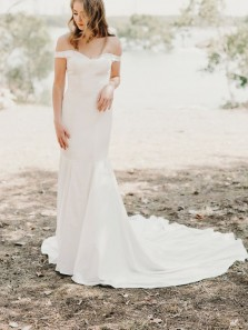 Simple Mermaid Off the Shoulder White Soft Satin Wedding Dresses with Train