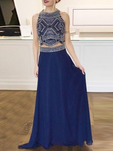 Stunning A-Line Two Piece Halter Navy Blue Chiffon Long Prom Dresses with Beading,Fancy Graduation Dresses