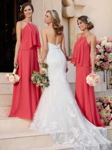 Simple A-Line Halter Open Back Coral Chiffon Long Bridesmaid Dresses