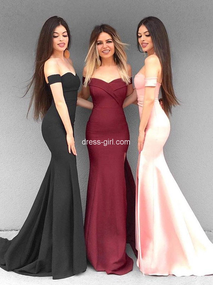 4a99c15048ae Simple Mermaid Off the Shoulder Open Back Burgundy Satin Long Prom Dresses  with Split,Evening Party Dresses