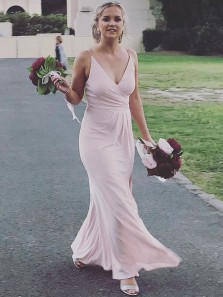 Simple Sheath V Neck Open Back Pastel Chiffon Long Bridesmaid Dresses