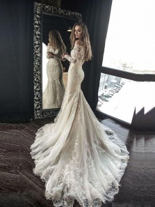 Gorgeous Mermaid Off the Shoulder Long Sleeve Open Back White Lace Wedding Dresses with Train