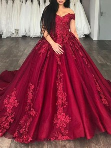 Gorgeous Ball Gown Off the Shoulder Open Back Burgundy Satin Long Prom Dresses with Lace,Quinceanera Dresses