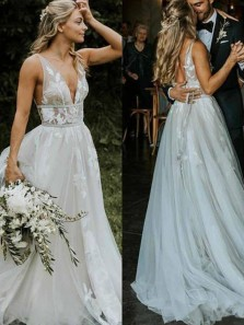 Charming A-Line V Neck Open back Ivory Tulle Wedding Dresses with Appliques