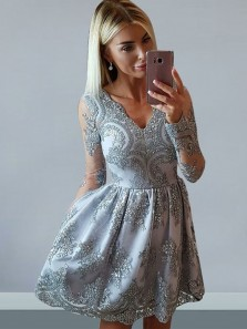 Stylish A-Line V Neck Long Sleeve Grey Satin Short Homecoming Dresses with Lace,Cocktail Party Dresses DG8037