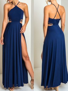 Simple A-Line Halter Open Back Navy Blue Elastic Satin Long Prom Dresses with High Split,Formal Prom Dresses