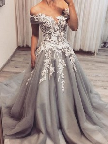 Elegant A-Line Off the Shoulder Open Back Grey Tulle Long Prom Dresses with Lace,Evening Party Dresses