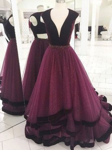 Unique A-Line V Neck Burgundy Tulle Tiered Long Prom Dresses,Elegant Evening Party Dresses