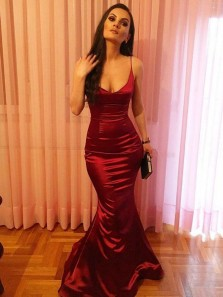 Sexy Mermaid V Neck Open Back Burgundy Elastic Satin Long Prom Dresses,Evening Party Dresses