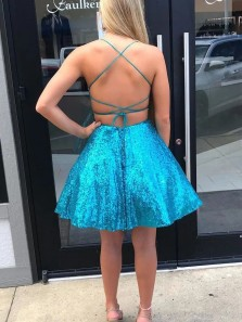 Sparkly A-Line Scoop Neck Cross Back Lake Blue Sequins Short Homecoming Dresses,Back to School Dress