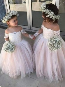 Pretty A-Line Sheer Neck Long Sleeve Blush Pink Tulle Lace Flower Girl Dresses