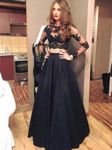 Elegant Two Piece A-Line Round Neck Long Sleeve Black Satin Lace Long Prom Dresses,Evening Party Dresses