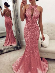 Sparkly Mermaid Halter Open Back Pink Beaded Long Prom Dresses,Formal Evening Dresses