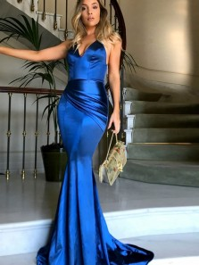 Gorgeous Mermaid V Neck Spaghetti Straps Royal Blue Long Prom Dresses with Train, Elegant Evening Dresses