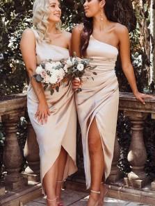 Sheath One Shoulder Champagne Silk Satin Bridesmaid Dresses Under 100