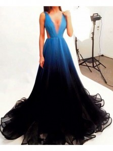 Unique A-Line V Neck Open Back Blue Black Gradient Tulle Long Prom Dresses,Evening Party Dresses
