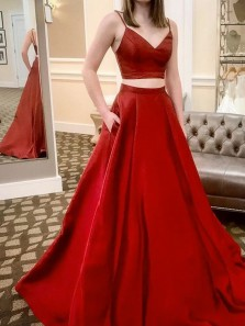 Simple Two Piece V Neck Open Back Spaghetti Straps Red Satin Long Prom Dresses with Pockets,Evening Party Dresses