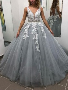 Stunning A-Line V Neck Open Back Blush Tulle Long Prom Dresses with White Appliques,Charming Quinceanera Dresses