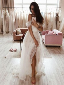 Simple A-Line Off the Shoulder Open Back Ivory Tulle Beach Wedding Dresses