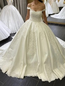 Ball Gown Off the Shoulder Satin Wedding Dresses with Appliques