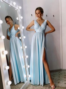 Elegant A-Line V Neck Sky Blue Chiffon Long Prom Dresses with High Split