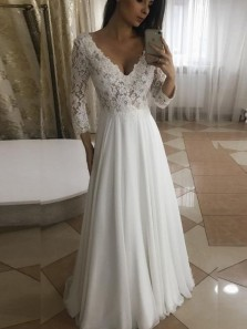 Elegant A-Line V Neck Long Sleeve Ivory Chiffon Long Wedding Dresses 1908070022