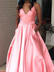 Simple A-Line V Neck Open Back Pink Satin Long Prom Dresses with Pockets,Evening Party Dresses