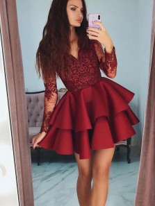 Modest A-Line V Neck Long Sleeve Burgundy Satin Short Prom Dresses with Lace,Short Homecoming Cocktail Party Dresses