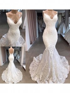 Charming Mermaid V Neck Open Back White Lace Wedding Dresses 190613007