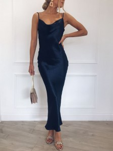 Simple Sheath Cowl Neck Backless Navy Blue Satin Tea Length Prom Dresses,Evening Party Dresses Under 100