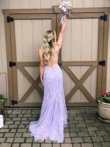 Charming Mermaid Scoop Neck Cross Back Lavender Lace Long Prom Dresses,Evening Party Dresses