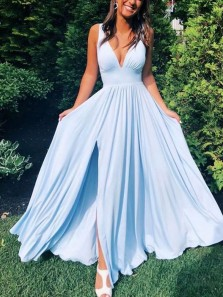 Simple A-Line V Neck Open Back Light Blue Satin Long Prom Dresses with High Split,Evening party Dresses Under 100