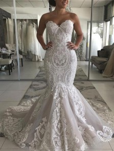 Mermaid Sweetheart Open Back Ivory Lace Wedding Dresses,2019 Bridal Gown