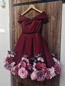 Unique A-Line Off the Shoulder Open Back Burgundy Satin Short Homecoming Dresses with 3D Flowers,Back to School Dresses,Short Prom Dresses