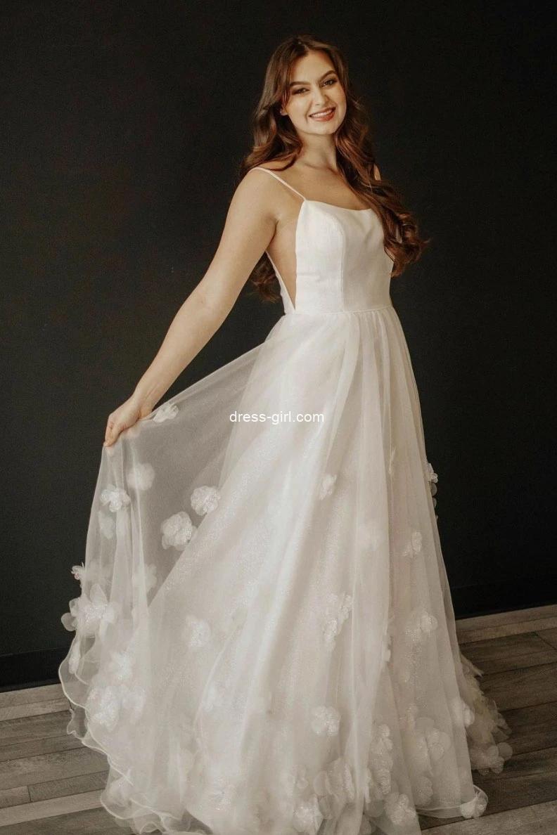 Charming A-Line Scoop Neck Ivory Tulle Handmade Flowers Long Wedding Dresses Formal Prom Dresses