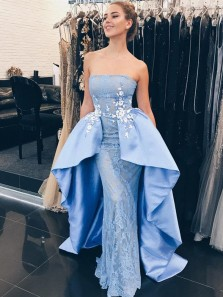 Unique Sheath Strapless Open Back Blue Satin Irregular Long Prom Dresses with Lace,Evening Party Dresses