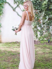Unique A-Line One Shoulder Pink Chiffon Backless Long Bridesmaid Dresses DG0925008