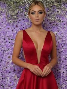 Elegant A-Line V Neck Open Back Dark Red Satin Long Prom Dresses with Pockets,Simple Evening Party Dresses