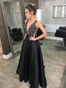 Stylish A-Line Deep V-Neck Sleeveless Black Long Prom Dress Evening Dress With Beading