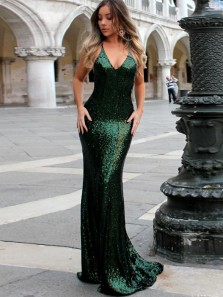 Charming Halter V Neck Cross Back Green Sequins Mermaid Long Prom Dresses,Elegant Formal Party Dresses