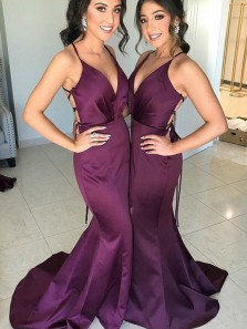 Charming Mermaid V Neck Spaghetti Straps Cross Back Grape Elastic Satin Long Bridesmaid Dresses