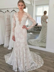 Vintage Mermaid V Neck Long Sleeve White Lace Long Wedding Dresses
