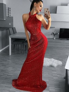 Sexy Mermaid Halter Backless Red Sequins Long Prom Dresses,Evening Party Dresses